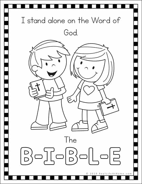 Free B-I-B-L-E Song Coloring Page Printables Available at Real Life at Home