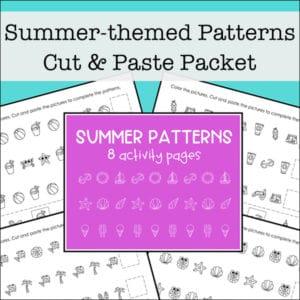 Free Printable Summer Math Patterns Worksheets Packet for Kids