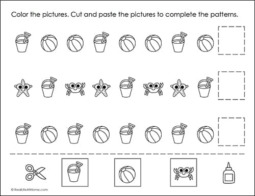 Summer Math Patterns Worksheet (part of the free packet from Real Life at Home)