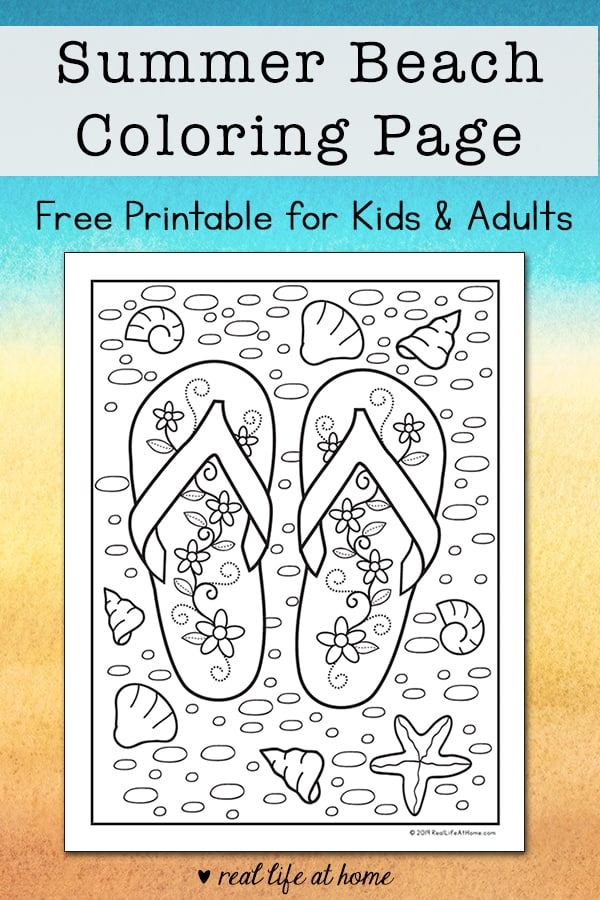 Looking for a fun summer coloring page for kids? Kids and adult alike will enjoy completing this free printable beach flip flop coloring page this summer. | Real Life at Home