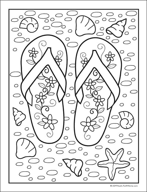 Summer Beach Flip Flop Coloring Page - Free Printable