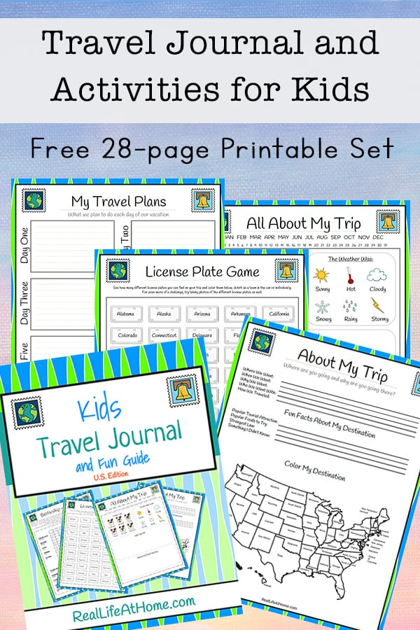 Looking for fun activities, travel games, and journaling pages for traveling with kids? This free 28-page travel journal for kids will be a great addition to your next trip! | Real Life at Home