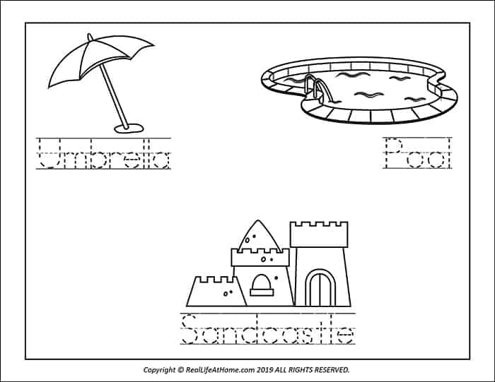 Sample page from the Summer Handwriting and Coloring Packet