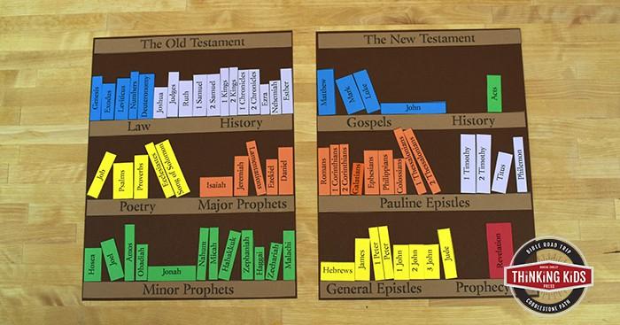 Books of the Bible bookshelf craft