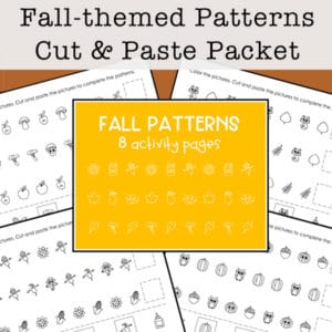 If you are working on recognizing and making math patterns with pictures, these free fall patterns worksheets are a wonderful early math activity.