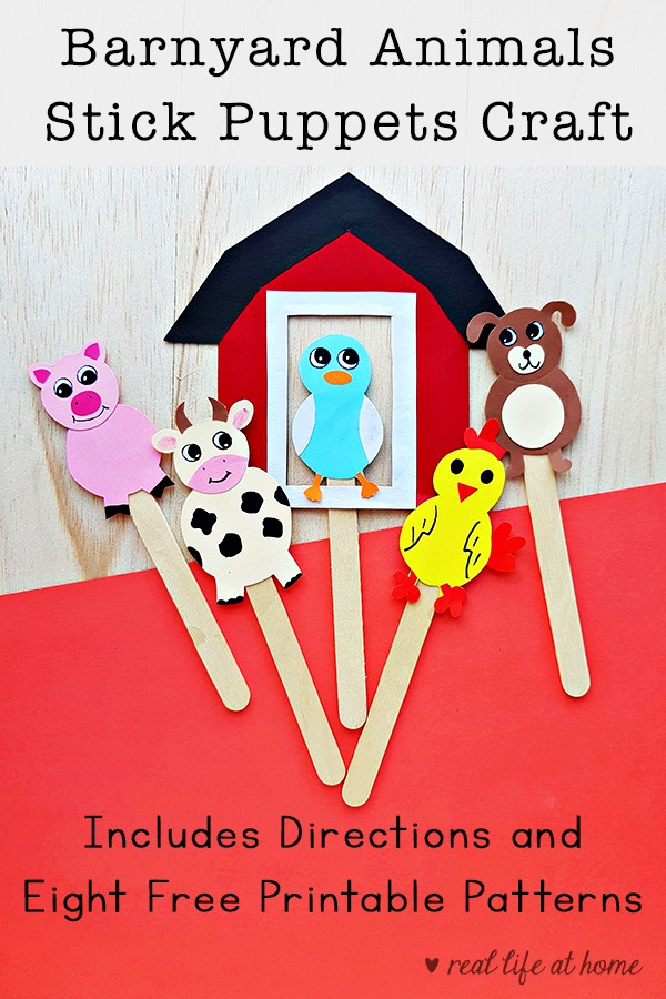 Farm animals stick puppets craft