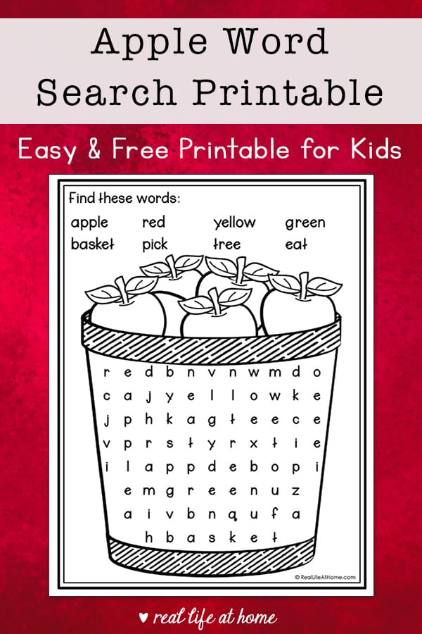 Apples Word Search Free Printable
