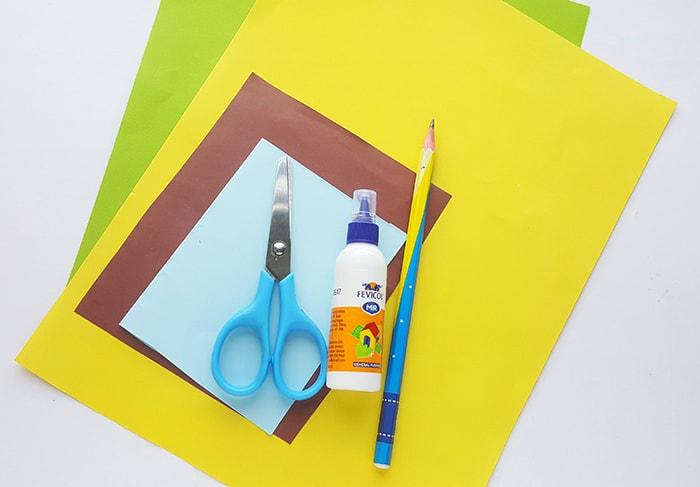 Supplies for Paper Sunflower Craft