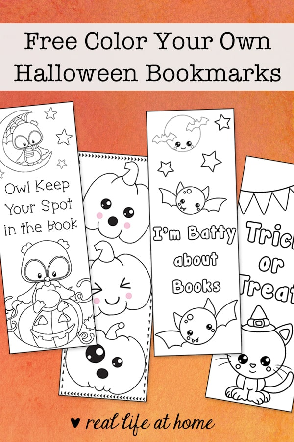 Free Color Your Own Halloween Bookmarks for Kids from Real Life at Home