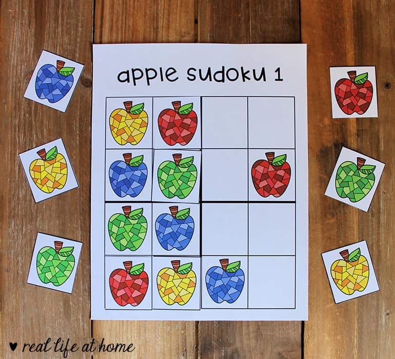 Apple Sudoku Printable Puzzle for Kids