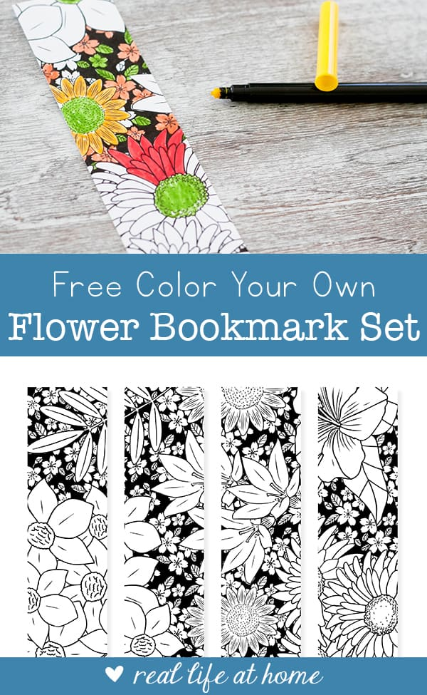 Free Color Your Own Flower Bookmarks for Kids and Adults from Real Life at Home