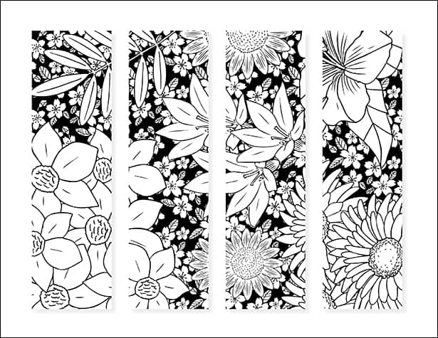 Free Set of Floral Bookmarks for Kids and Adults to Color from Real Life at Home