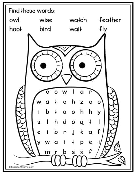 Easy Owl Word Search Free Printable for Kids (from Real Life at Home)