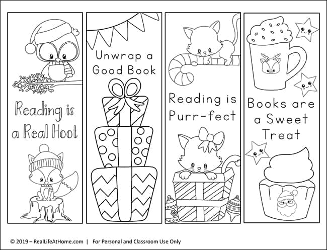Christmas Bookmarks to Color for Kids (free from Real Life at Home)