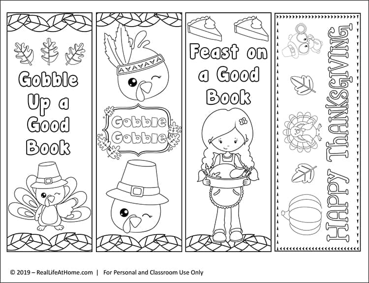 Free printable set of four color your own Thanksgiving bookmarks for kids. These bookmarks feature turkeys, pilgrim owls, pumpkins, leaves, and more with Thanksgiving messages.
