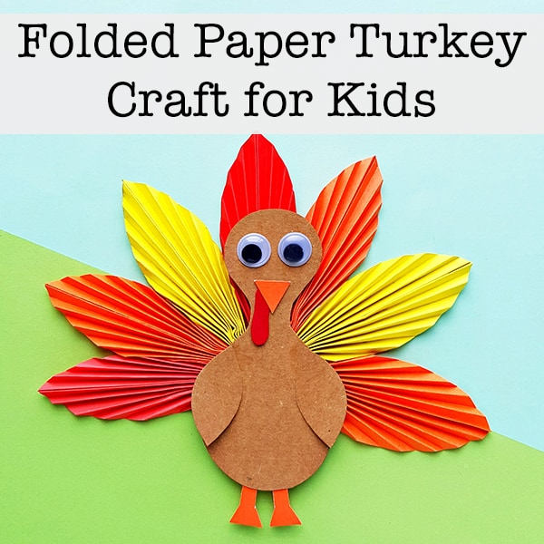 Using a free printable template and inexpensive supplies, kids can make a folded paper turkey craft for Thanksgiving with these step-by-step instructions.