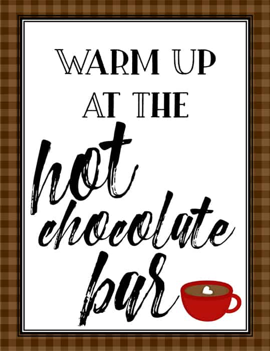 Warm Up at the Hot Chocolate Bar Sign (Part of a Free Printable Set from Real Life at Home)