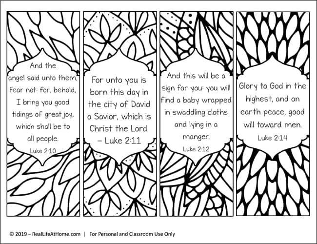 Christmas Bookmark Printables with Christmas Bible Verses