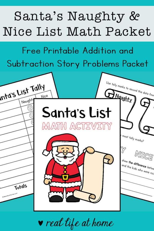 Santa's Naughty and Nice List Christmas Math Packet (free printable)