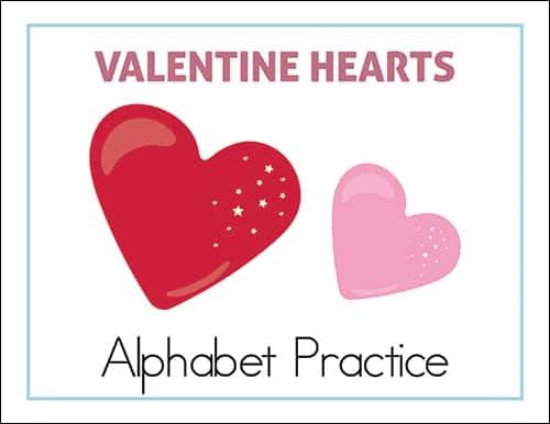 Valentine Hearts Alphabet Practice Worksheets Packet