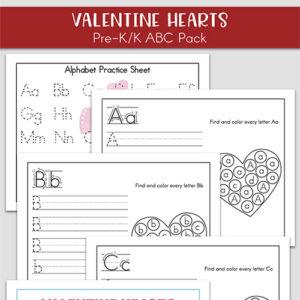 Free Valentine's Day Alphabet Printables Packet for Preschool and Kindergarten