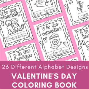 Free 27-page Valentine's Day coloring pages alphabet packet for preschool, kindergarten, and 1st grade. Includes one page for each letter of the alphabet!