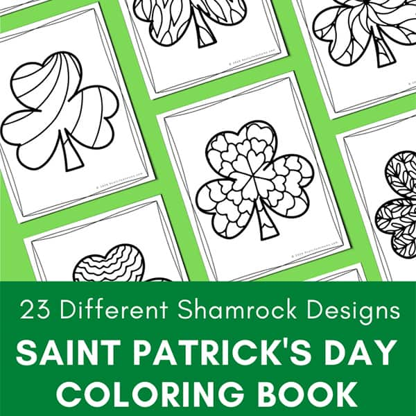 23 Different Shamrock Designs: Saint Patrick's Day Coloring Book for Kids and Adults from Real Life at Home