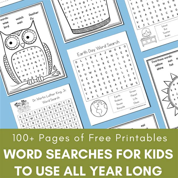100+ Pages of Free Word Search Printables: Word Searches for Kids to Use All Year Long