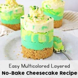 Easy Multicolored Layered No-Bake Cheesecake Recipe