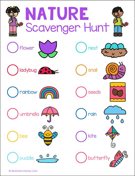 Nature Scavenger Hunt Printable from Real Life at Home