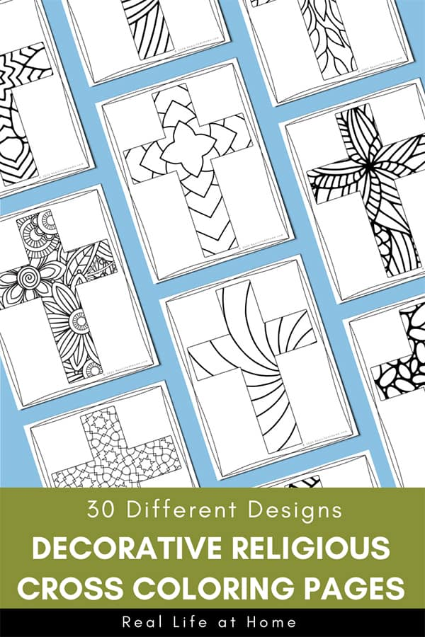Religious Cross Coloring Pages For Kids And Adults (30 Different Designs)