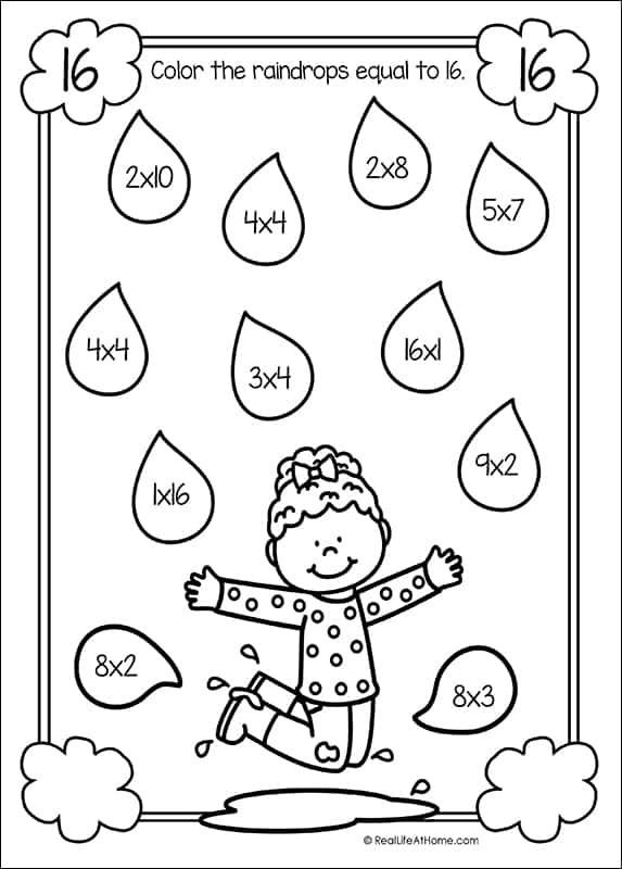 Find the Multiplication Equations Basic Multiplication Free Worksheet