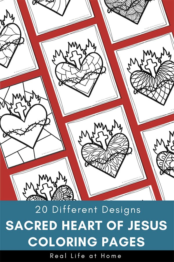 Sacred Heart Coloring Pages Set