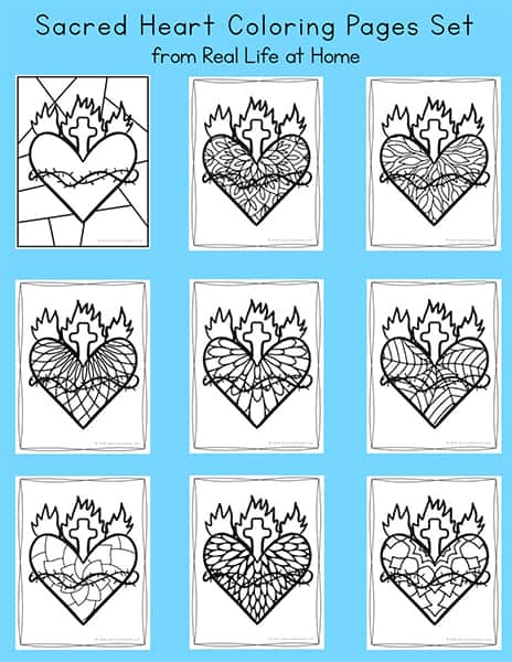 Sacred Heart of Jesus Coloring Pages Set