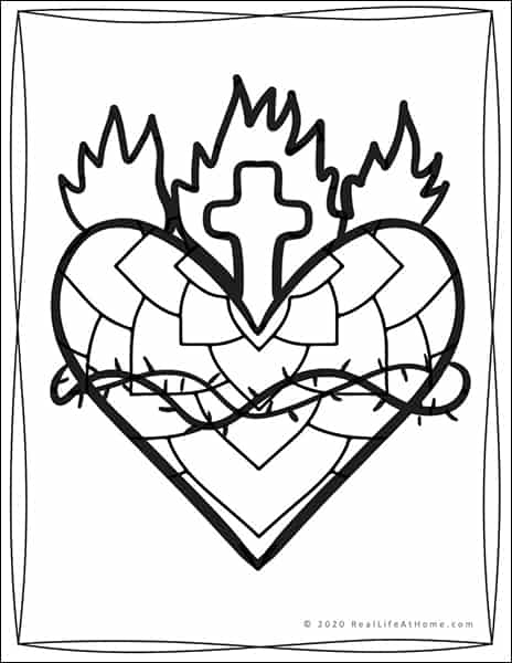 Sacred Heart of Jesus Coloring Page (from Real Life at Home)