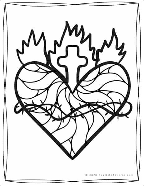 Sacred Heart of Jesus Coloring Sheet