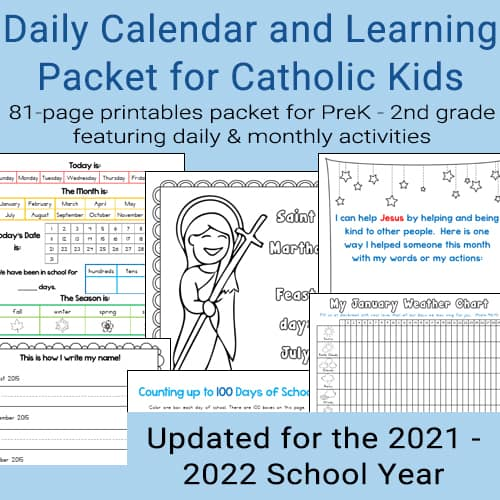 Daily Learning and Notebooking Packet for Catholic Kids Sample Pages