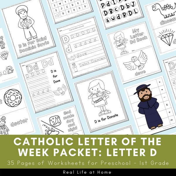 Catholic Letter of the Week Packet for Letter D