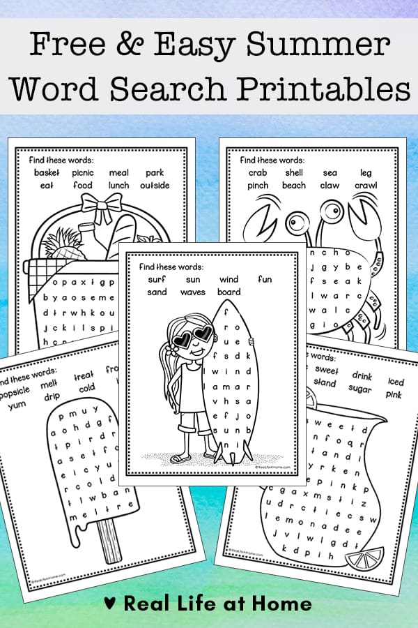 Free and Easy Summer Word Finds for Kids