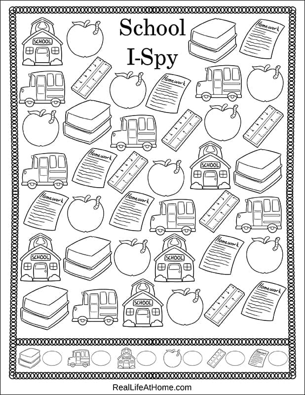 Free Printable Back to School I Spy Activity