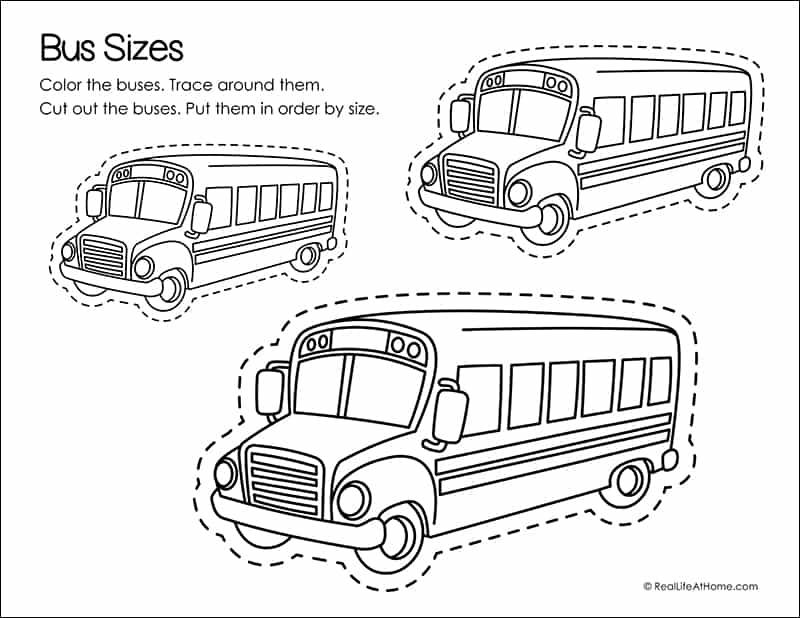 School Bus Fine Motor Skills Page