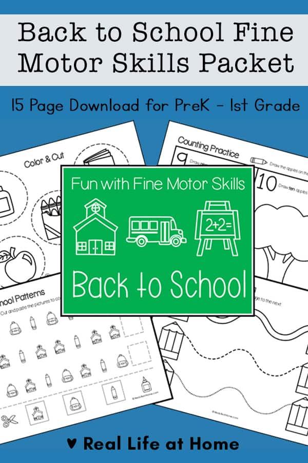 Back to School Fine Motor Skills Packet for Preschool - 1st Grade