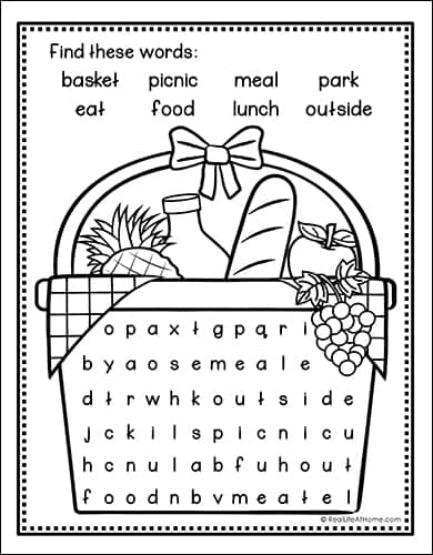 Picnic Word Search Printable