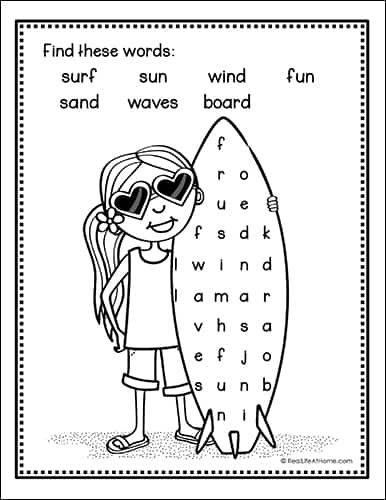 Surfer Word Search Printable