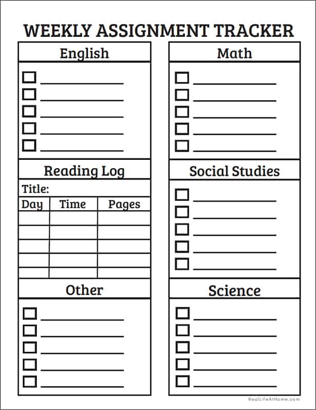 Weekly Assignment Tracker in Black and White