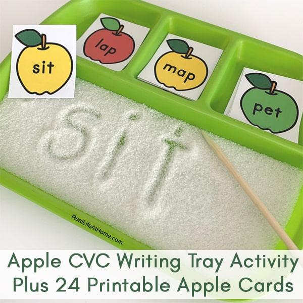 Apple CVC Writing Tray Activity