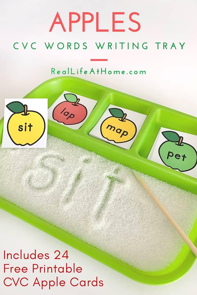 Apples Sand Tray Writing Activity