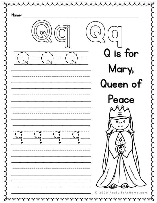Q Handwriting Page