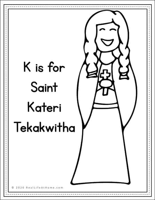 Saint Kateri Tekakwitha Coloring Page