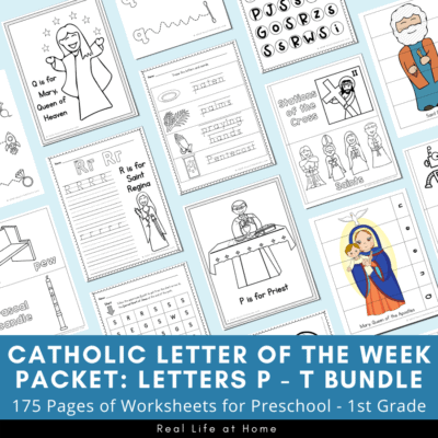 Catholic Letter of the Week Packets: Letters P - T Bundle